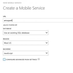 1.5 - Create Mobile Service